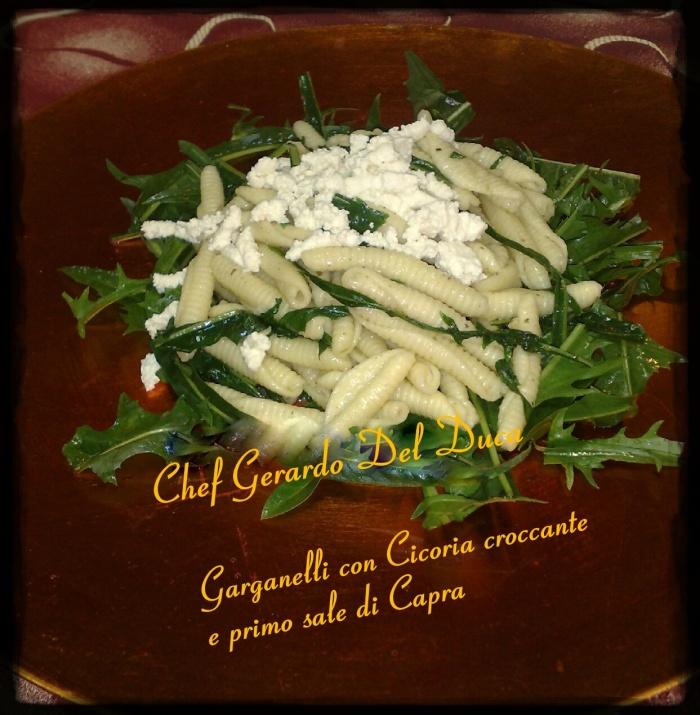 Garganelli Cicorie croccanti e primo sale di Capra