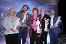 Gran Galà Versilia Gourmet 2016, i Premiati. Franca Checchi, Angelo Torcigliani, Annie Feolde, Massimo Mannozzi, David Cupisti. Foto di Fotomania