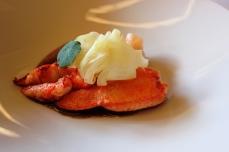 Restaurante A_ Barra a Madrid, in Spagna. Bogavante, salsa bordalesa, naranja e hinojo. Foto di Giorgio Dracopulos Critico Gastronomico